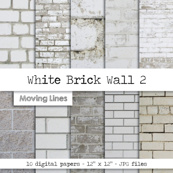 White Brick Wall by Moving Lines Art